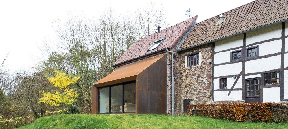 18th-Century House in Belgium Gets a Contemporary Steel Extension