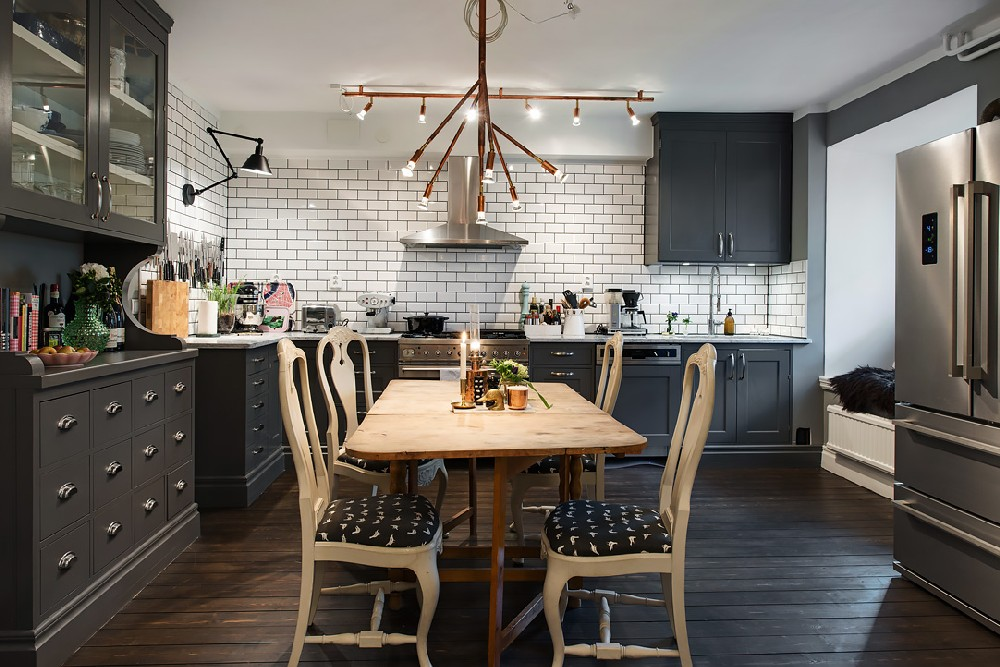 Dark Walls Wood Make For A Warm Cozy Apartment In Sweden