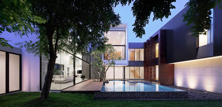 Courtyard Is the Only Traditional Element in This Modern Home in Thailand