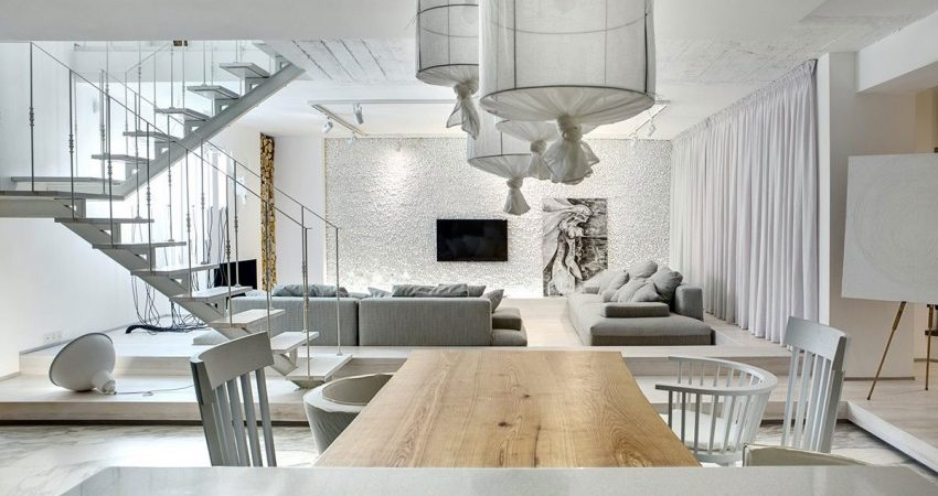 Almost All White Apartment in Kiev Plays With Materials and Textures
