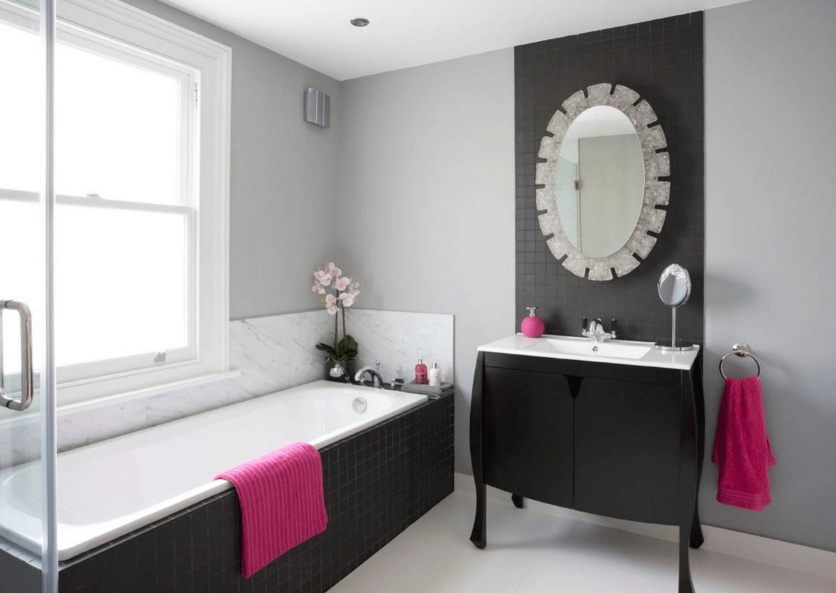 Pink Accented Transitional Bathroom