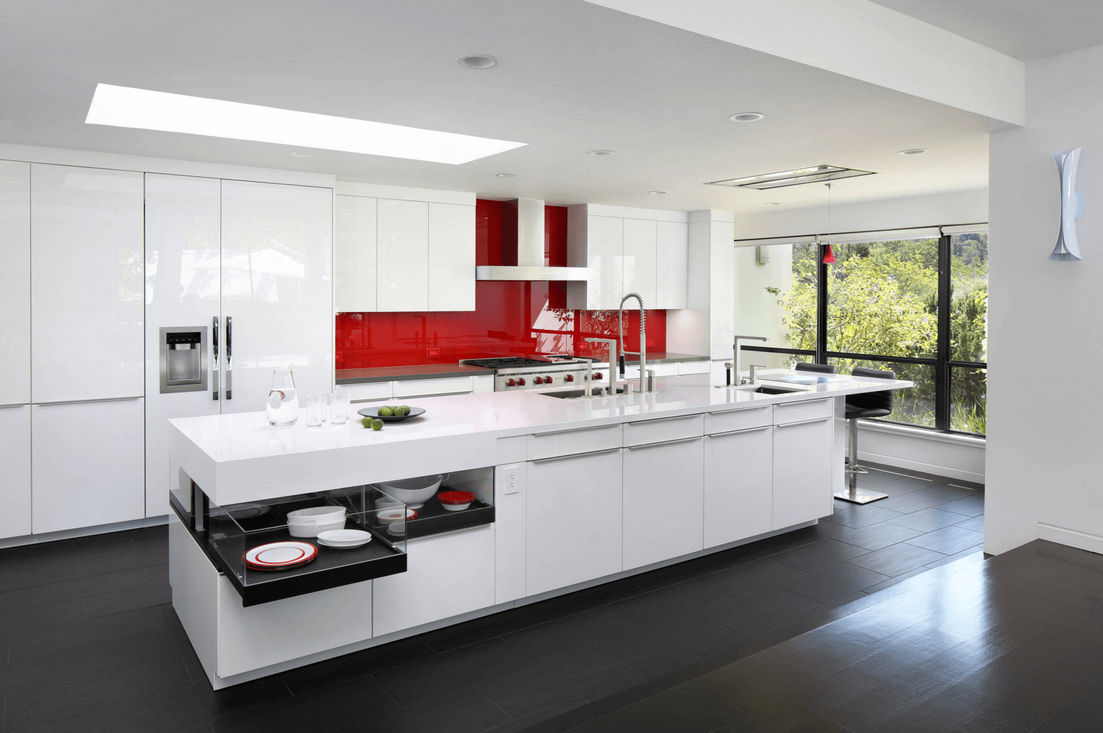 Contemporary Red Backsplash