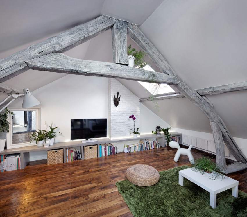 Collect This Idea Living Room With Beams Attic Apartment Paris