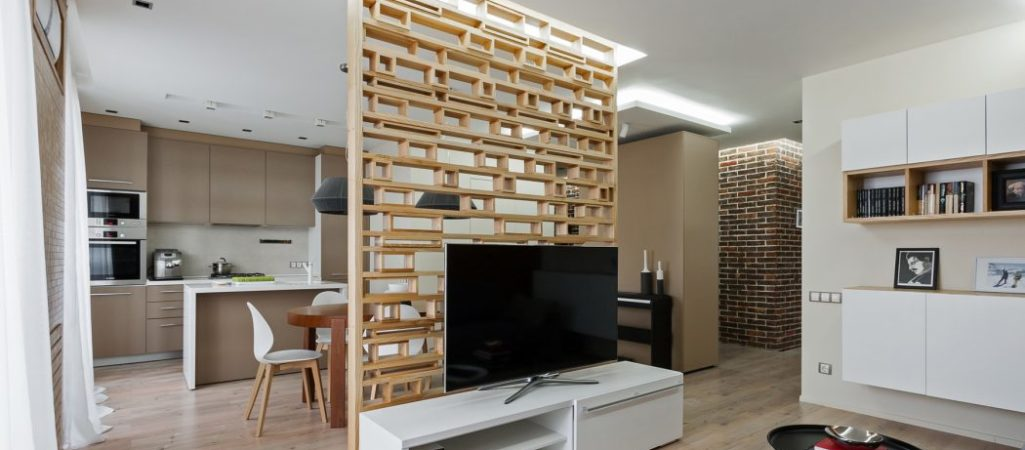 Plywood Accent Wall Opens Up This Small Apartment in Ukraine