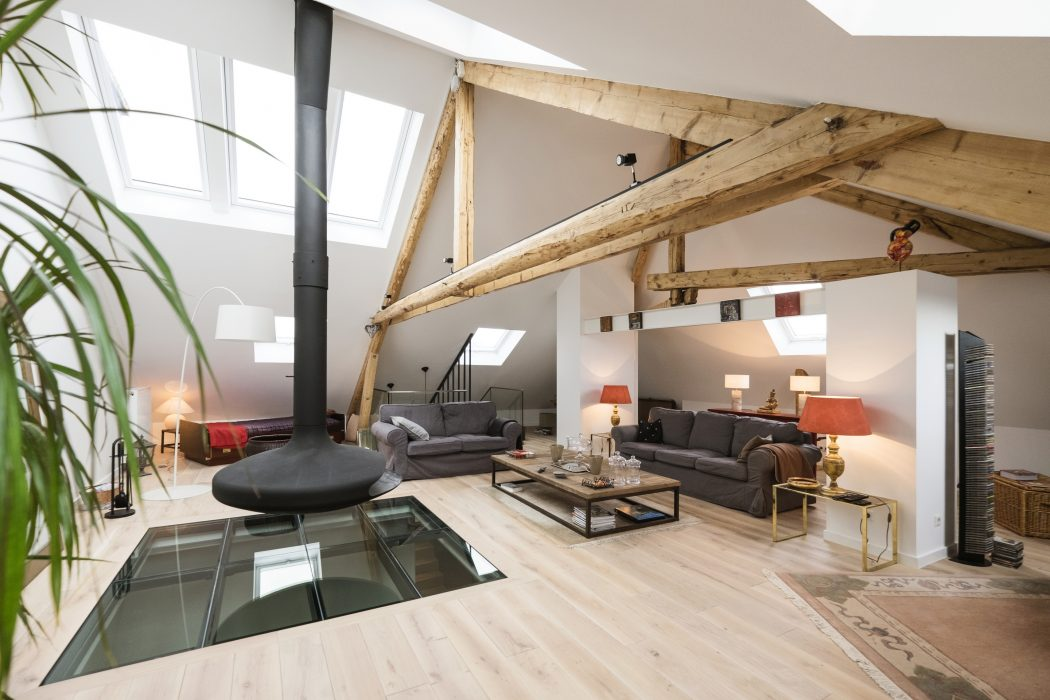 Attic Apartment In Luxembourg Combines Modern And Rustic Details
