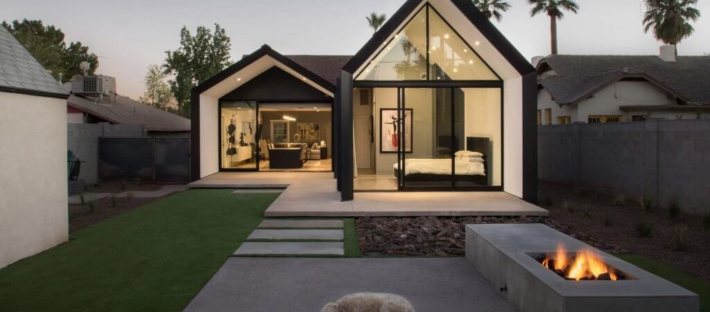 Modern Home Addition Extends out in Two Open Rooms