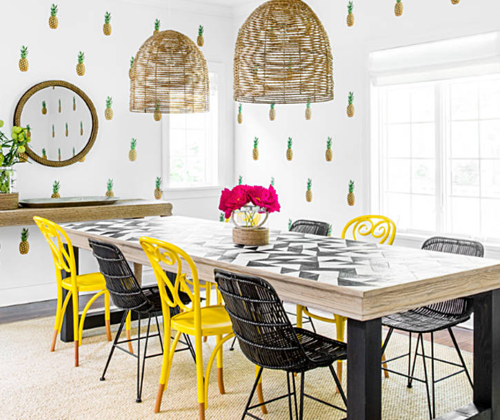 Pineapple wallpaper in the dining room - freshome.com