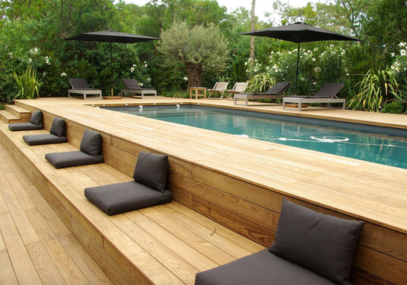 Beauty on a budget above ground pool ideas for Above ground pool decks for small yards