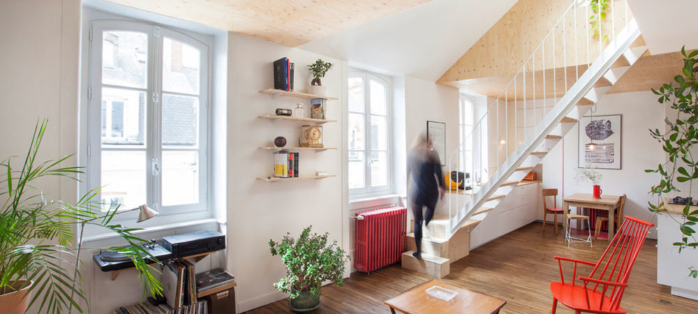 Single-Level Apartment in France Turned into Welcoming Duplex