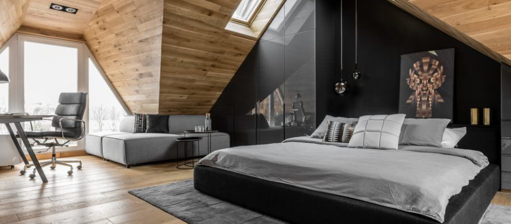 Masculine Attic Bedroom in Poland Exudes Character