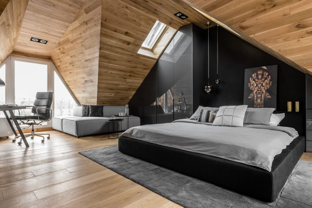 Masculine Attic Bedroom In Poland Exudes Character Freshomecom