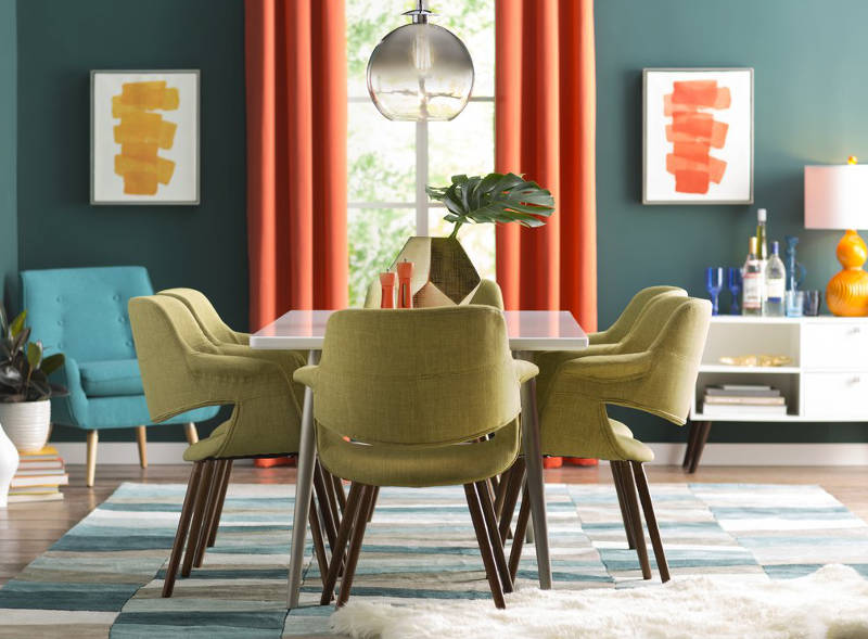 Upholstered Dining Chairs And Retro Room