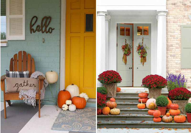 Make your neighbors jealous with these 21 modern fall - Fall decorating ideas for front porch ...