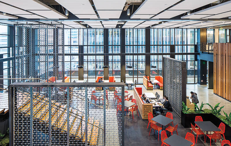 Industrial Cool Tones And Steel Are Offset By Vibrant Reds And Oranges.  Image: NBBJ