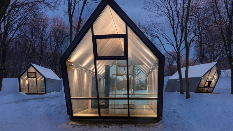 Small Tilted Kiosks in Canada Inspire a Sense of Movement
