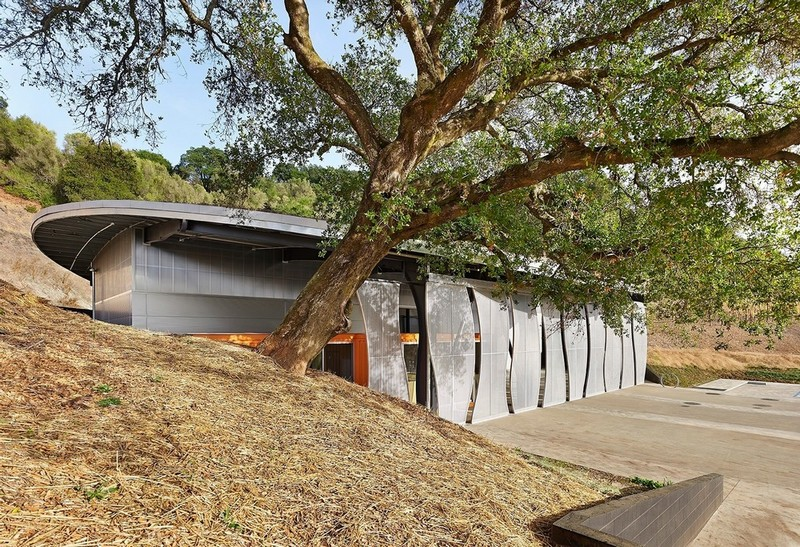 Complex Winery Design Features Green Roof Sliding Screens