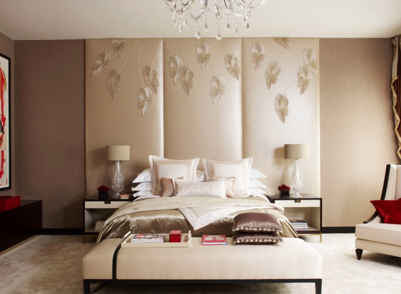 Collect This Idea. A Quick And Effective Way To Fill The Empty Wall Space  Behind Your Bed Involves Hanging A Room Divider. This Three Panel Version  In Silk ...