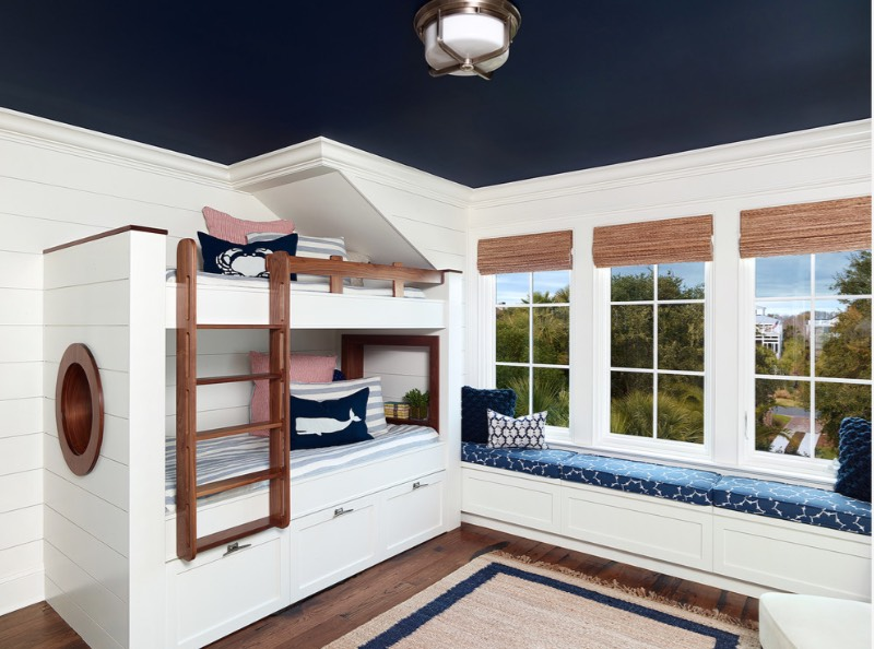 A Deep Navy Ceiling Caps Off This Room S Nautical Theme Warming Up What Would Otherwise Be Stark White E Image Amy Trowman Design