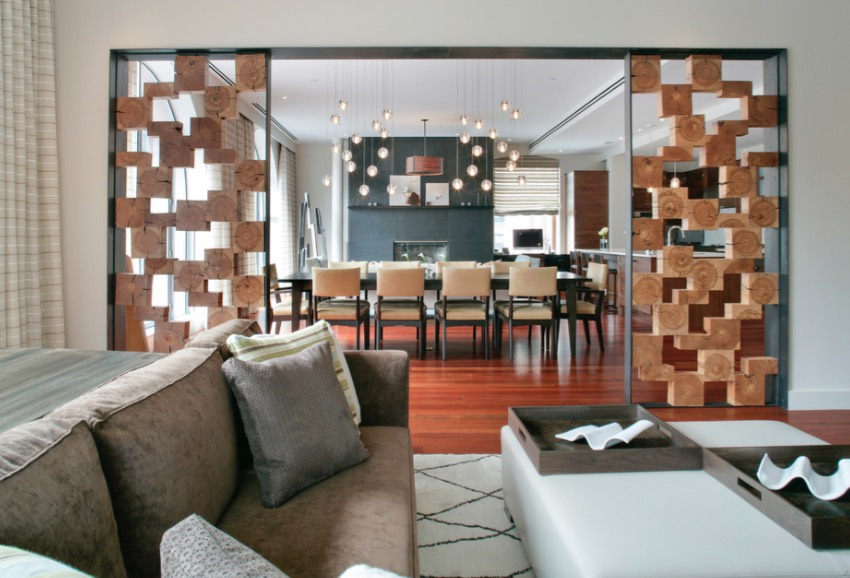 Panels Of Stacked Wood Blocks Add A Graphic Look To The Area Dividing Living Room And Dining Image Betty Werman
