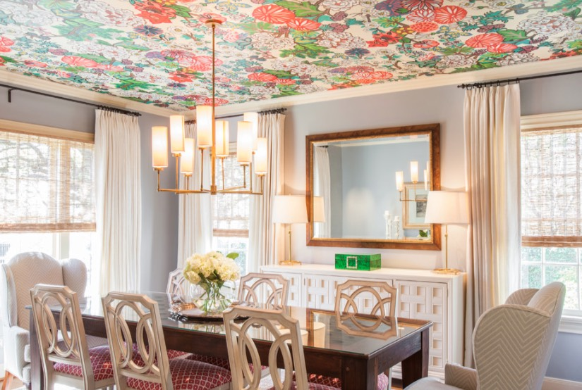 Dining Under A Fl Patterned Ceiling Is Like Enjoying An Springtime Picnic Garden Canopy Image Laura U Design