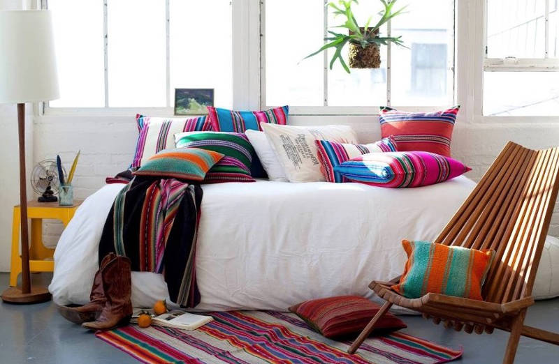 Mix and match layers of different color stripes to spice up your room. Image Caitlin McCarthy Design & 4 Tips To Add Cinco De Mayo Decor For A Mexican-Style Boho-Chic ...