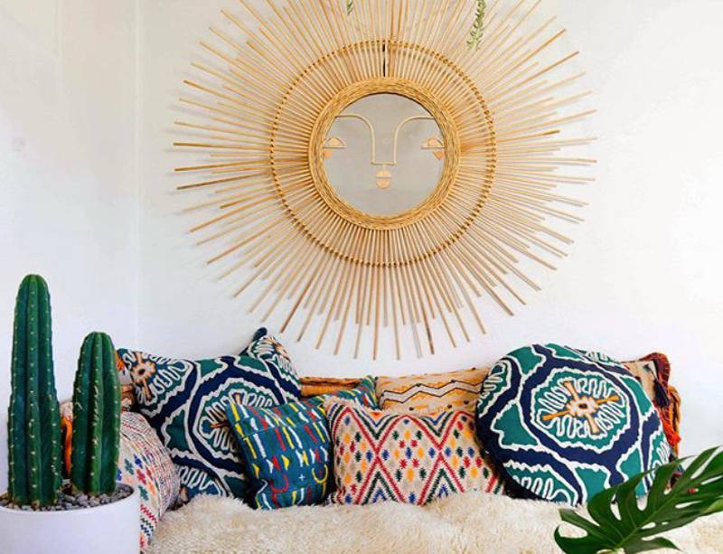 Mexican Style Should Put A Smile On Your Face This Whimsical Sunburst Mirror Is Made From Bamboo And Wicker Image Justina Blakeney Home
