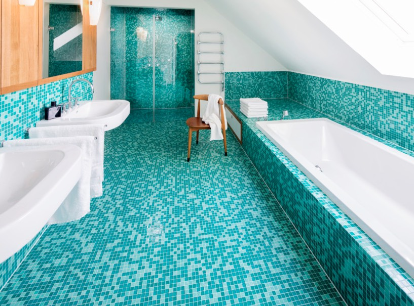Blue Bathrooms And Bathroom Ideas Featuring Tiles