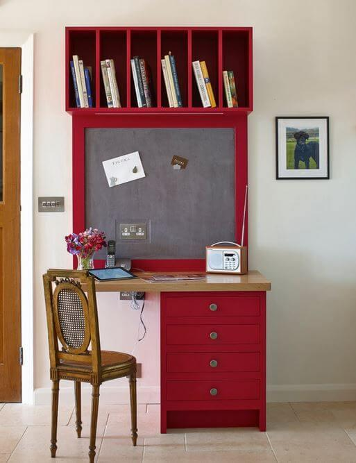 painting furniture red desk
