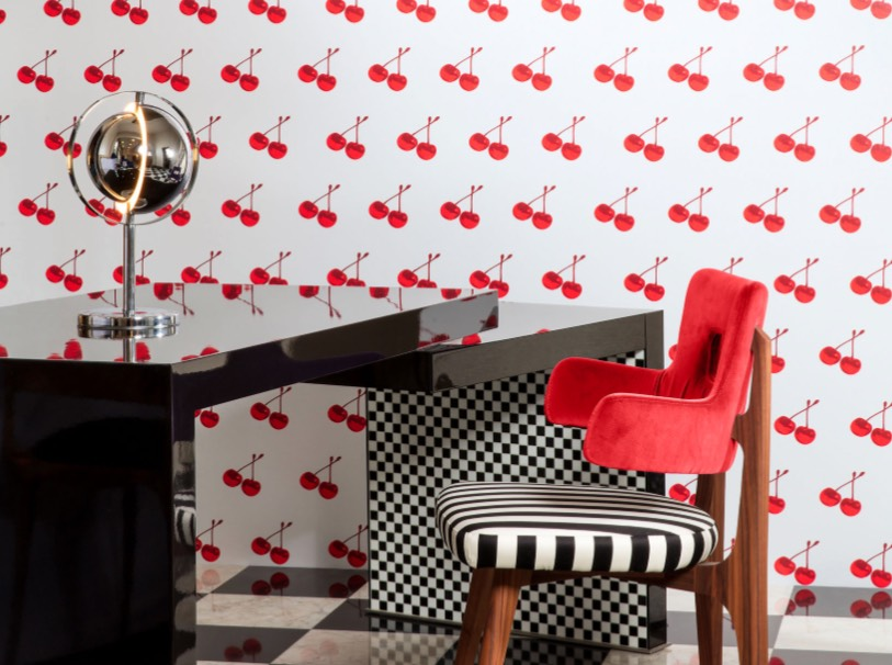 Eighties retro chic colors and patterns add fun and fashion to this desk area. Image: Flavor Paper. Would you wallpaper your space with scratch and sniff ...