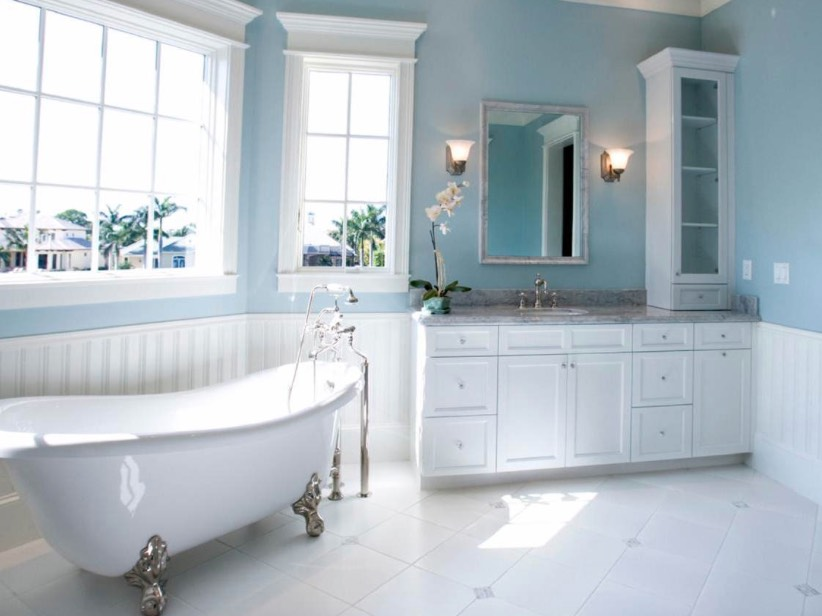 Baby Blue Bathroom Tile If you want to add blue to your bathroom without darkening your space,  choose a paler shade of blue and coordinate it with a combination of crisp  white, ...