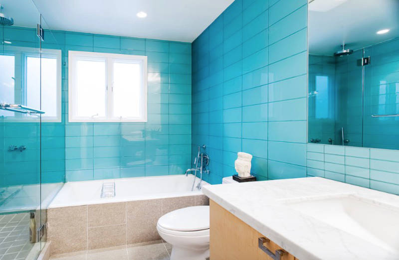 Blue Bathrooms Clean And Simple Aqua Gl Tiles Work Perfectly With The Blond Wood Cabinet Beige Floors Image Catherine Nguyen