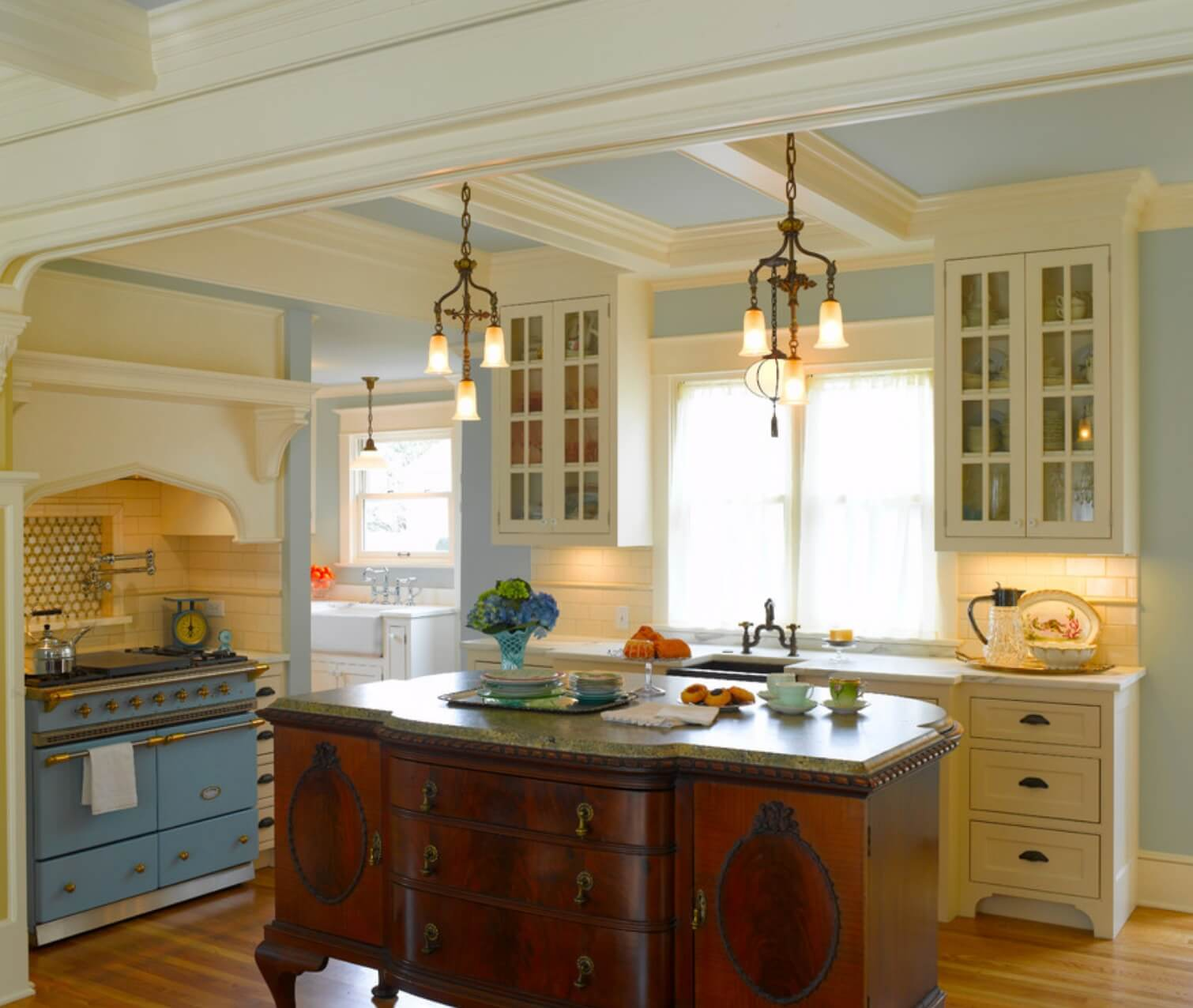 Pastel Wall Color Softens A Farmhouse Kitchen Image Rom Architecture
