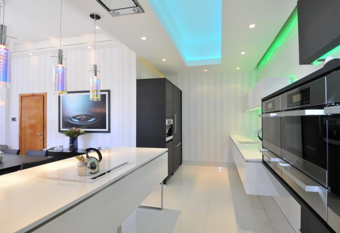 Funky Lighting Ideas Green Blue Accent
