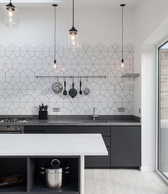 Hexagonal Tile Backsplash
