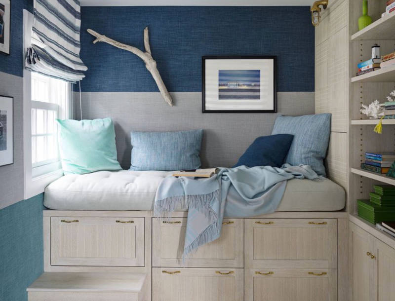 have an endless summer with these 35 beach house decor ideas home decor 2 The two-tone wall was achieved by using paint and wallpaper. Image: House  Beautiful. Collect this idea