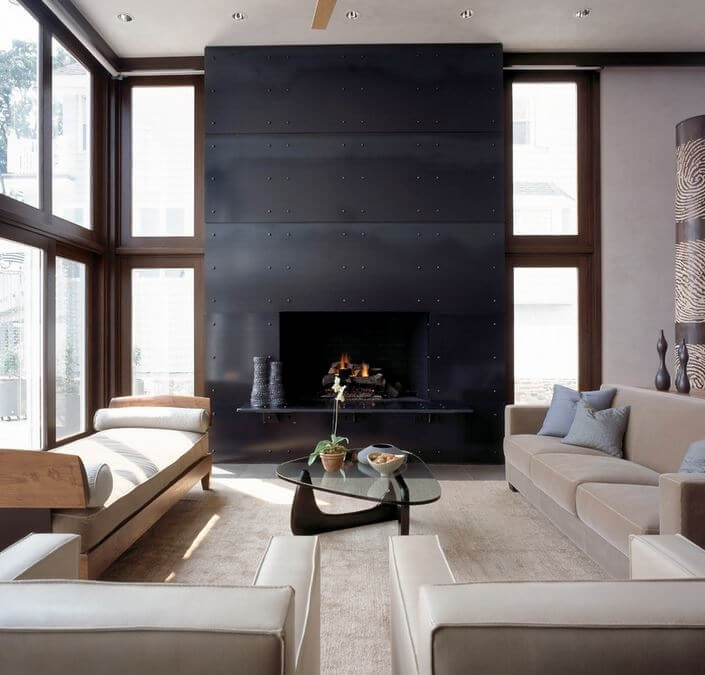 This Fireplace Surround Includes Hot Rolled Steel And Rivets Image Beinfeld Architecture Pc