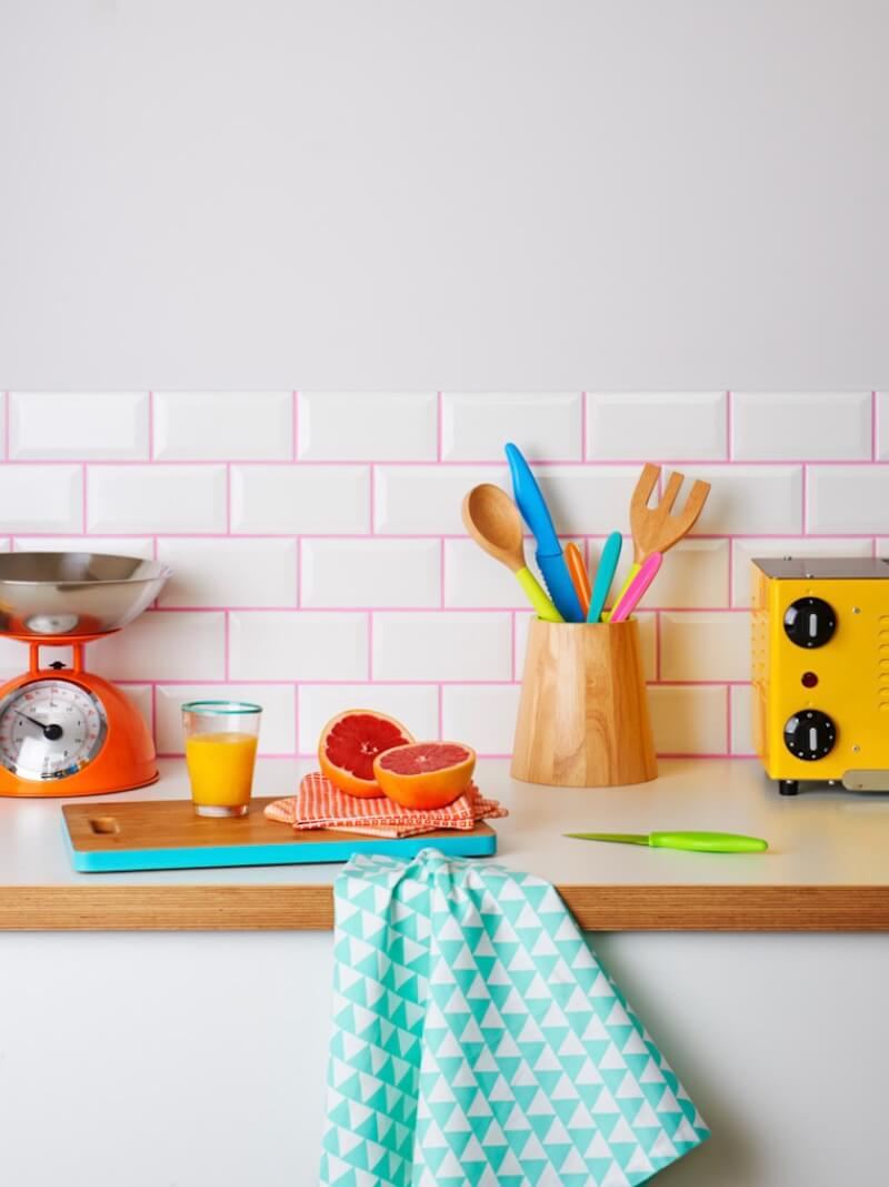 Colorful Grout Pink Kitchen Space