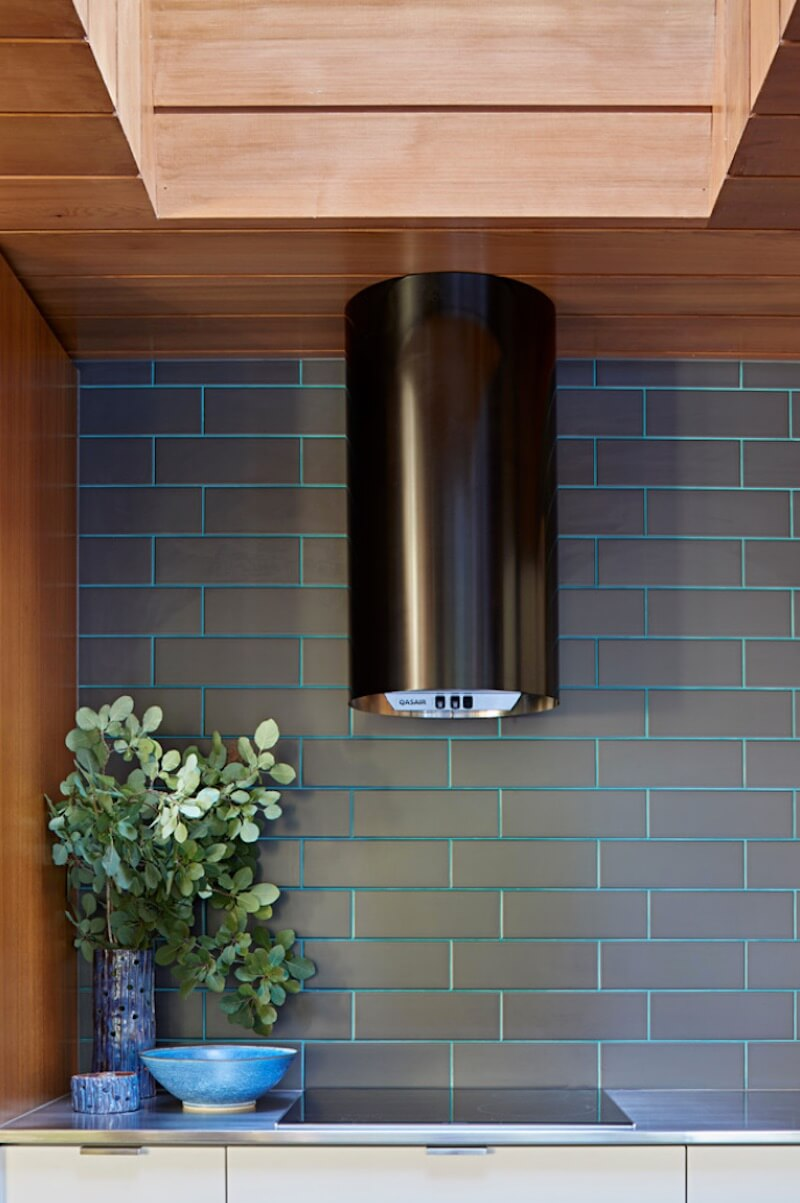 Colorful Grout Teal Kitchen