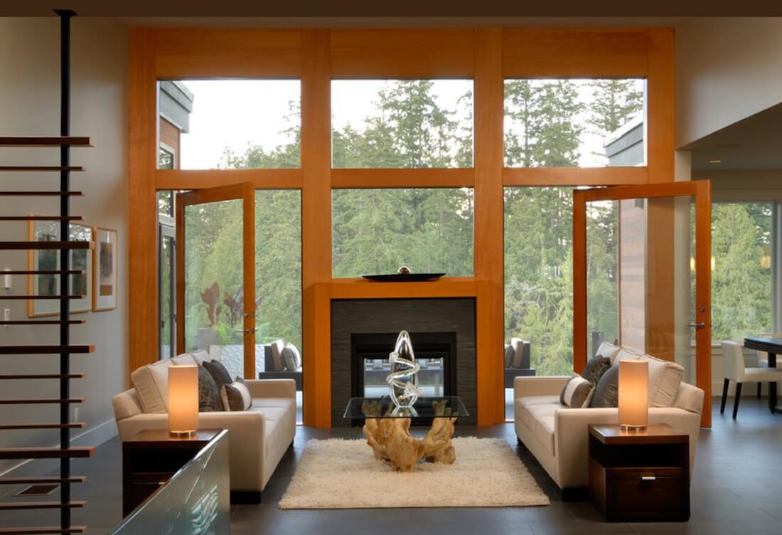 Indoor Fireplaces Mixed Geometric Wood