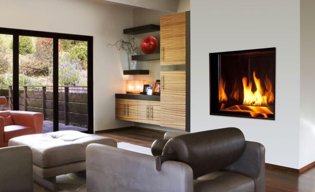 Indoor Fireplaces Set In Metal Frame