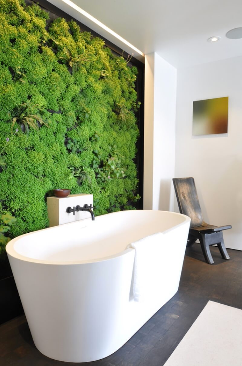 Natural Textures Greenery Wall Bathroom