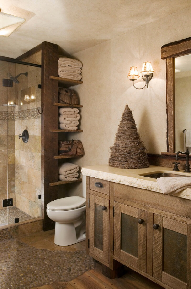 Natural Textures Wood and Stone Bathroom