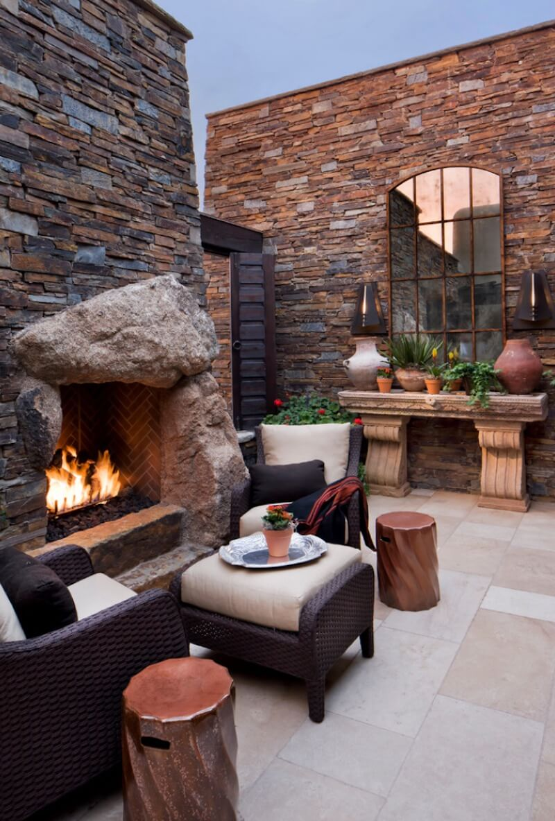 Outdoor Fireplaces Rustic Courtyard