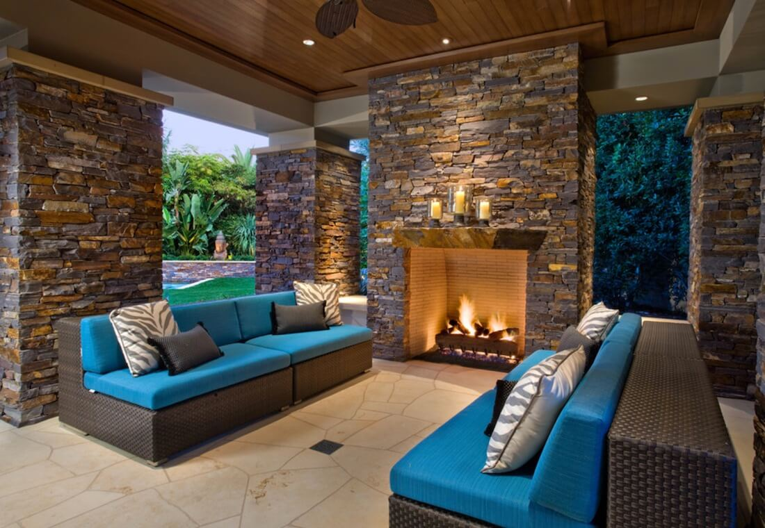 Outdoor Fireplaces Mixed Metal and Stone