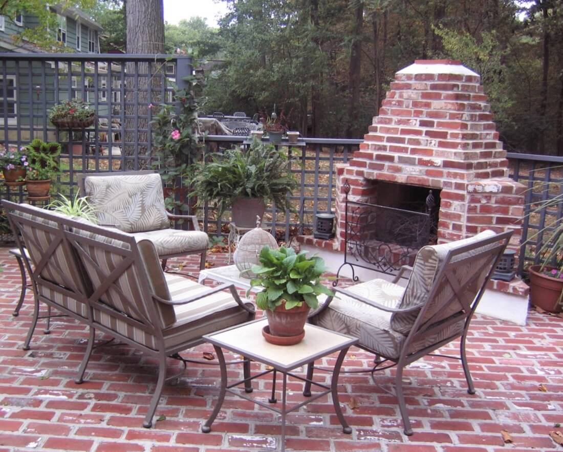 Outdoor Fireplaces Red Brick Matching Ground