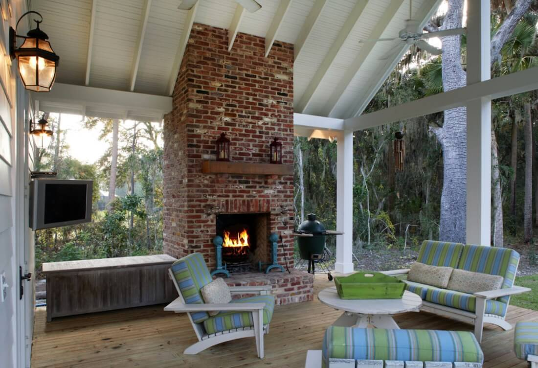 Outdoor Fireplaces Red Brick Design