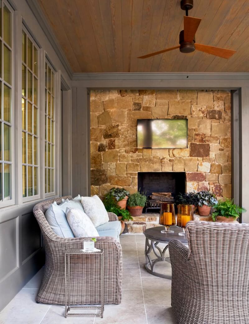 Outdoor Fireplaces TV and Stone