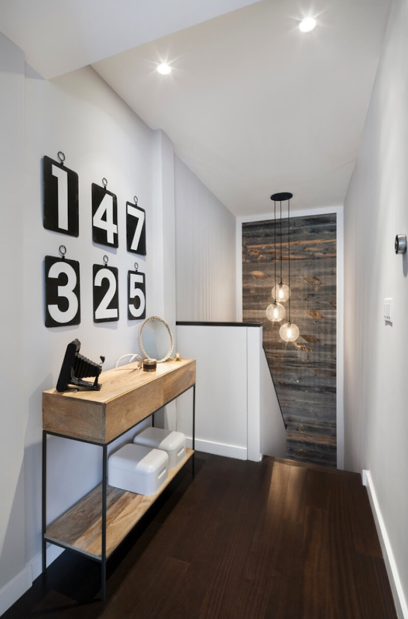 Rustic Chic Accent Walls Small Hallway