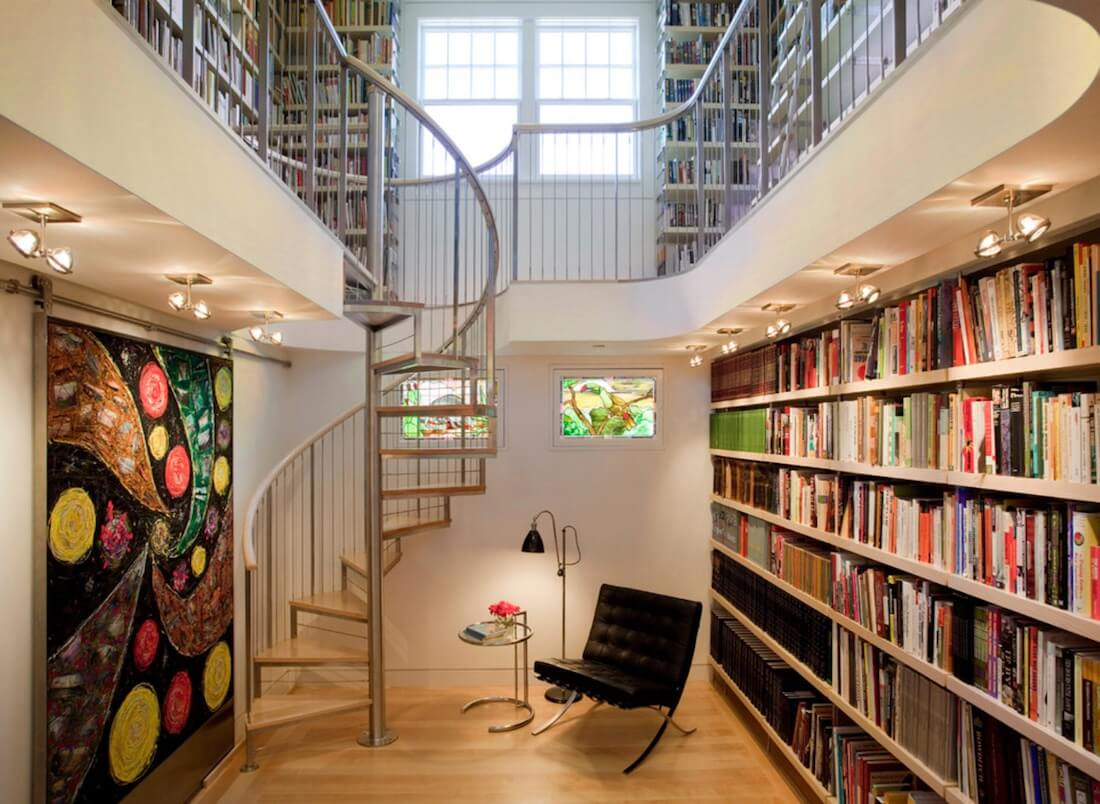 Spiral Staircase Two Level Library