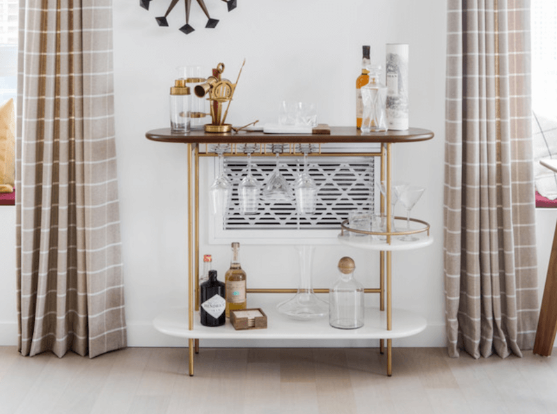 bar cart with bar tools